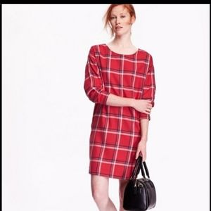 Old Navy Plaid cocoon dress shift red blue white
